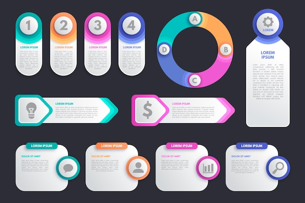 Colorful infographic element collection