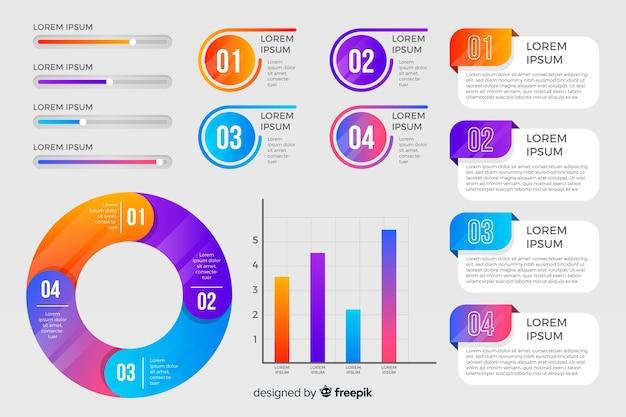 다채로운 infographic 요소 평면 디자인