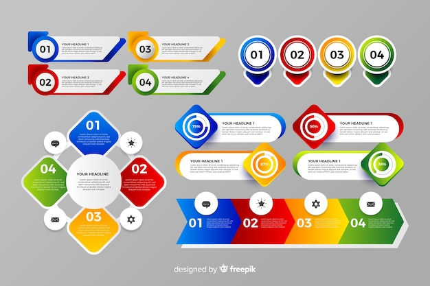 Colorful infographic element flat design
