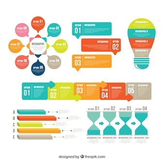 평면 스타일에 화려한 infographic 요소 컬렉션