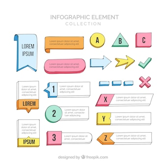 Colorful infographic elements collection in hand drawn style