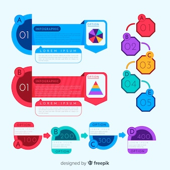 Colorful infographic elements pack