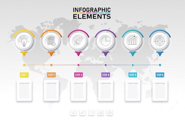 Красочный инфографический шаблон элементов, 3d бизнес-концепция 6 вариантов.