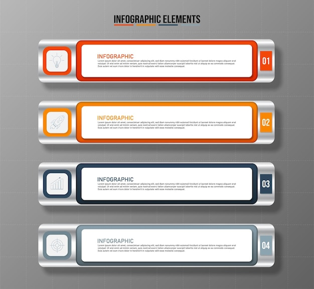 カラフルなインフォグラフィック要素テンプレート4つのオプションを持つビジネスコンセプト