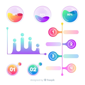 Colorful infographic elements with gradient effect