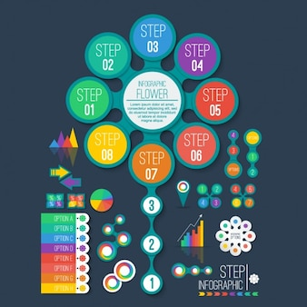 Colorful infographic graph collection