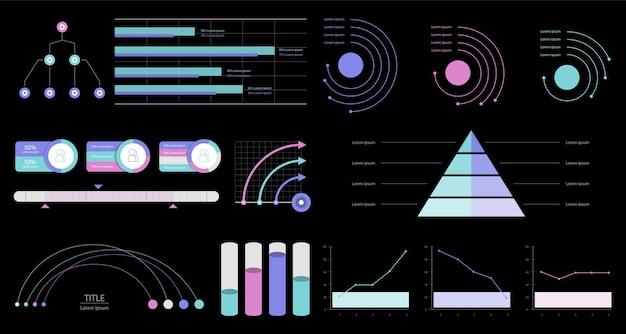 Иллюстрация красочных инфографических графиков и диаграмм