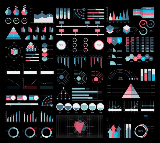Colorful infographic graphs and diagrams illustration