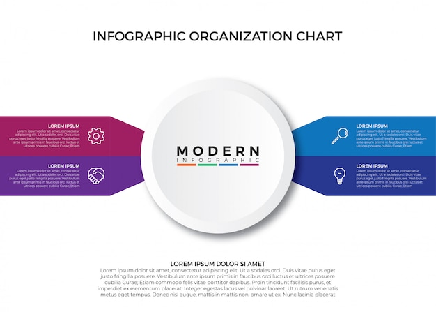 Colorful infographic organization chart
