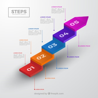 Colorful infographic steps collection in isometric style