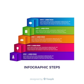 Colorful infographic steps collection