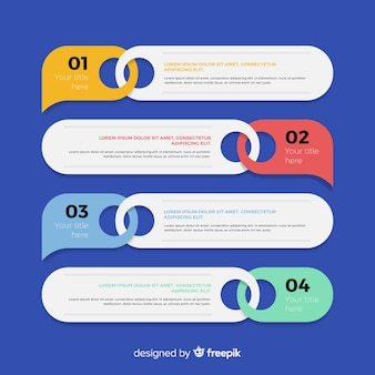 Colorful infographic steps concept in flat design