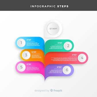 평면 스타일에 화려한 infographic 단계 개념