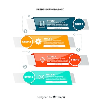 Colorful infographic steps flat design