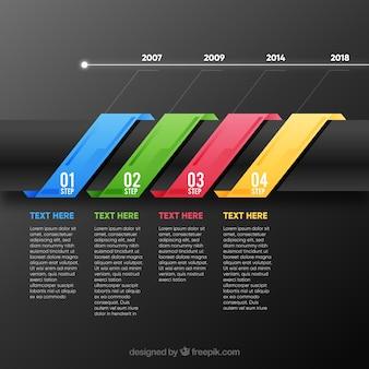 Passi infographic colorati in stile piano
