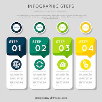 Colorful infographic steps in flat style