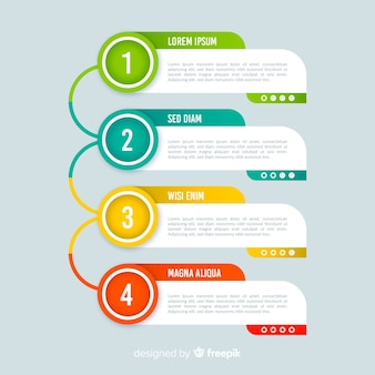 Colorful infographic steps template flat style