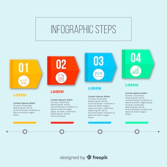 Colorful infographic steps with flat design