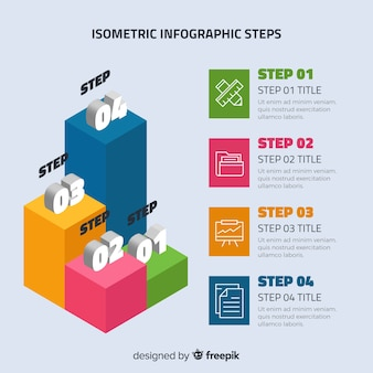 Colorful infographic steps with isometric design