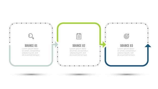 矢印とアイコンのカラフルなインフォグラフィックテンプレートデザイン。 3つのステップまたはオプションのビジネスコンセプト。
