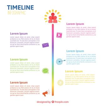 Colorful infographic modello di linea temporale