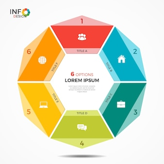 Colorful infographic template with 6 options circle chart . the elements of this template can be easily adjusted, transformed, added/completed, deleted and the colour can be changed.