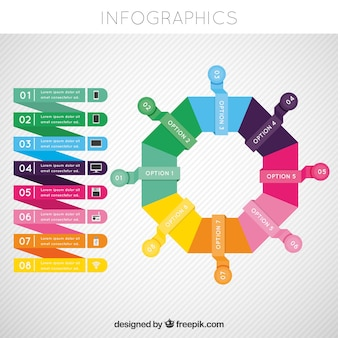Colorful infographic template with geometric style