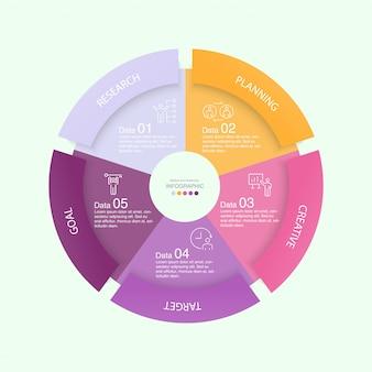 Красочный шаблон инфографики с иконками и 5 вариантов или шагов.