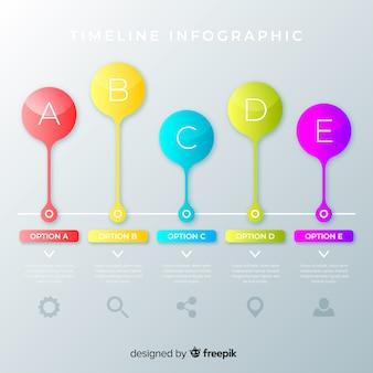 Colorful infographic timeline flat design