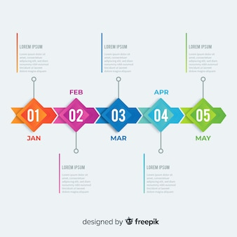Colorful infographic timeline flat design
