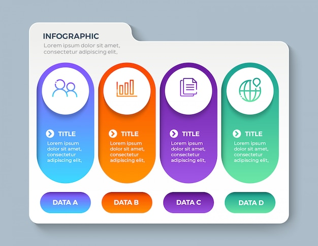 Colorful infographic with 4 option steps