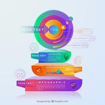 Infografica colorato con forme astratte