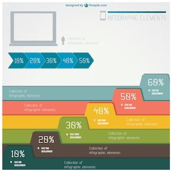백분율로 다채로운 infographic