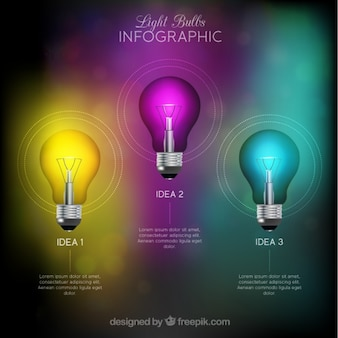 Colorful infographic with three bulbs and abstract background