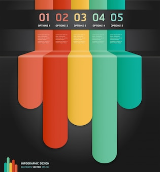 Colorful infographics number options banner & card.