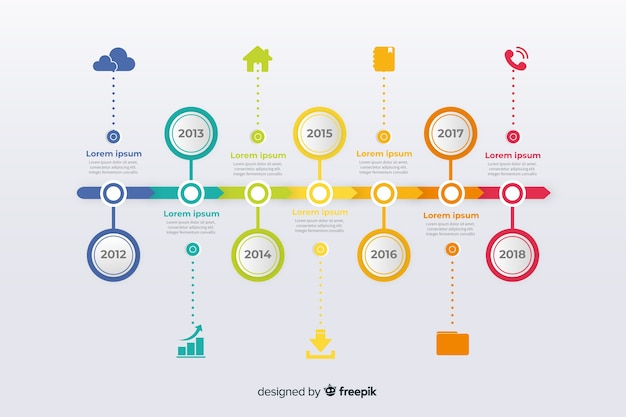 Colorful infographics timeline flat design