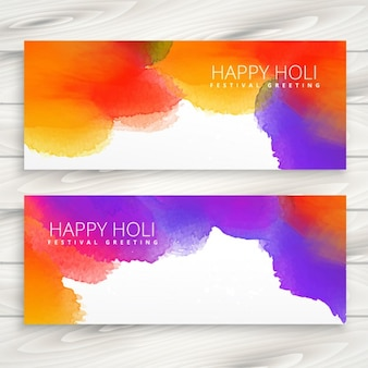 Holi 축제의 다채로운 잉크 배너