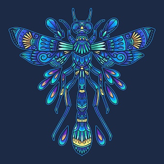 Colorful insect dragonfly mandala   illustration