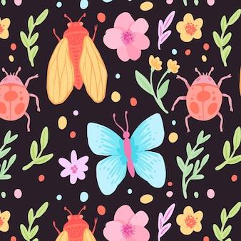 カラフルな昆虫と花のパターンテンプレート