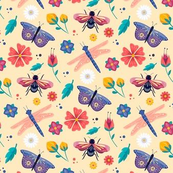カラフルな昆虫と花のパターン