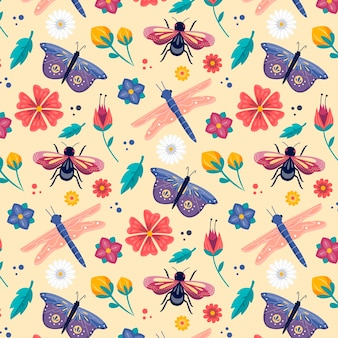 Colorful insects and flowers pattern