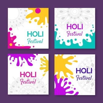 Colorful instagram post collection for holi