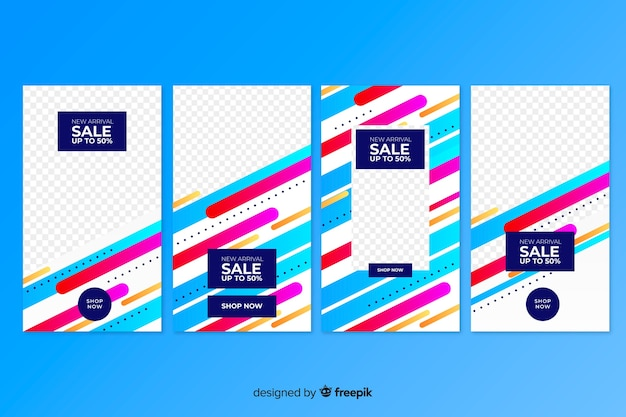 Colorful instagram sale stories in abstract style