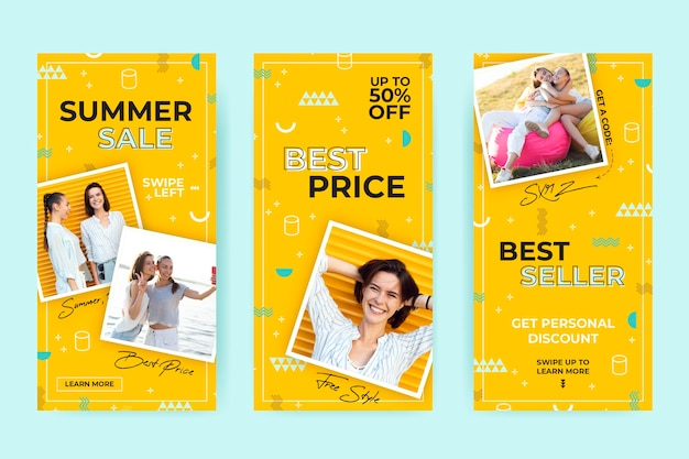 Colorful instagram sale stories collection