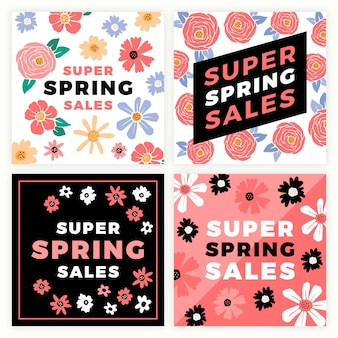 Colorful instagram spring sale posts collection