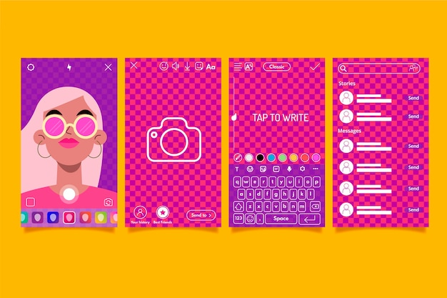 Colorful instagram stories interface template set