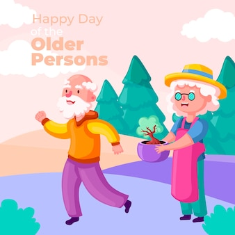노인 배경의 다채로운 국제 날