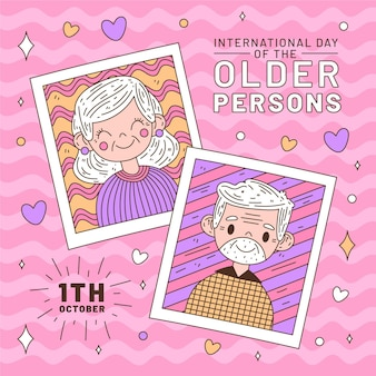 高齢者背景のカラフルな国際デー