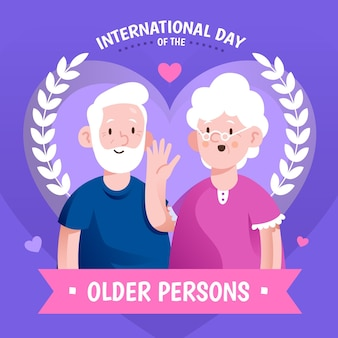 Colorful international day of the older persons background