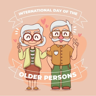 Colorful international day of the older persons with grandparents